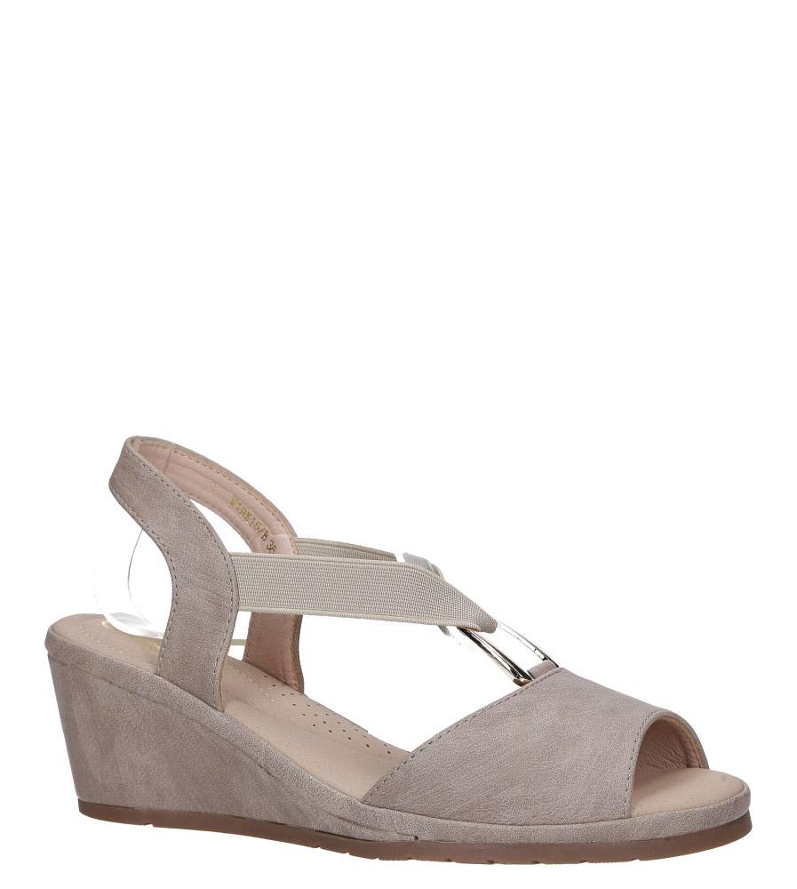Beżowe sandały na koturnie z gumką metalowa ozdoba Casu W19X15/B model W19X15/B