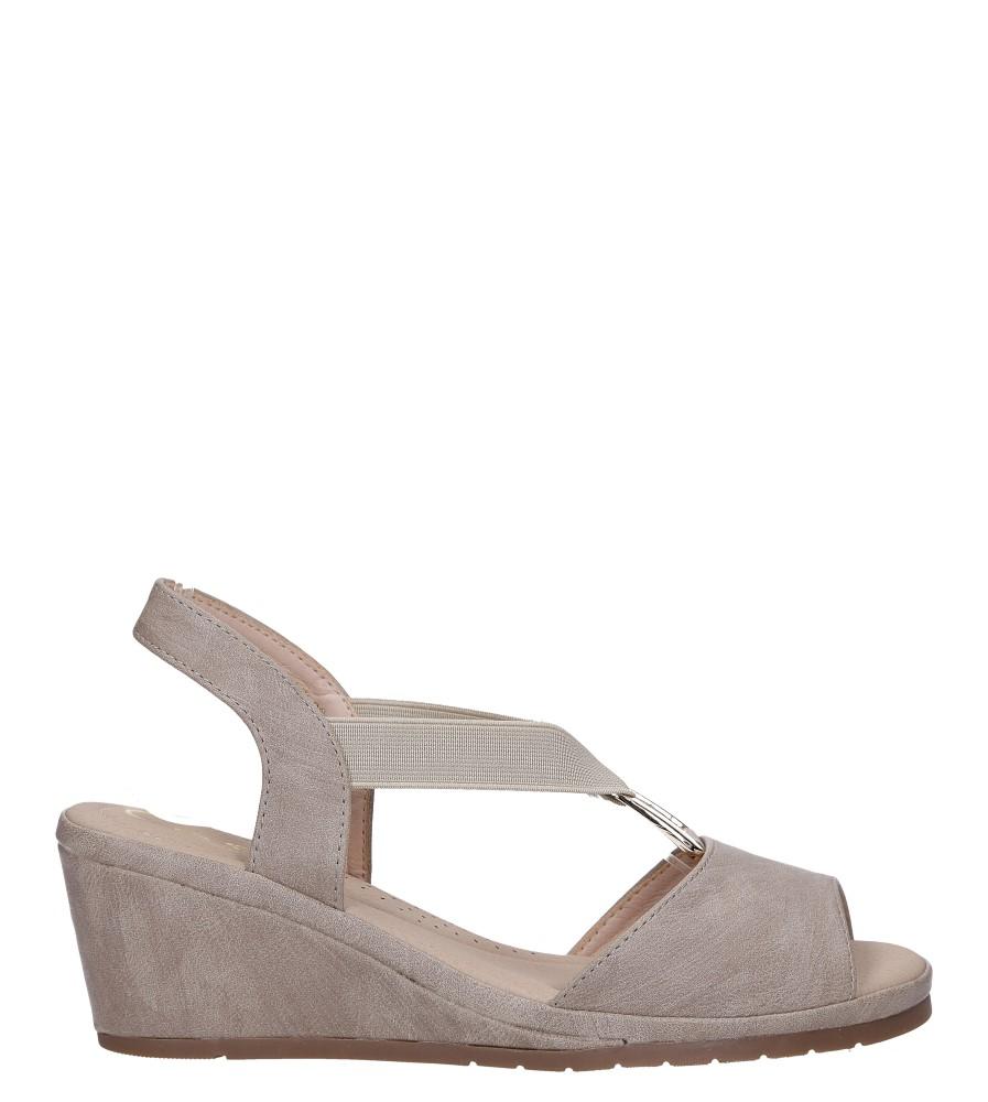 Beżowe sandały na koturnie z gumką metalowa ozdoba Casu W19X15/B wysokosc_platformy 1.5 cm