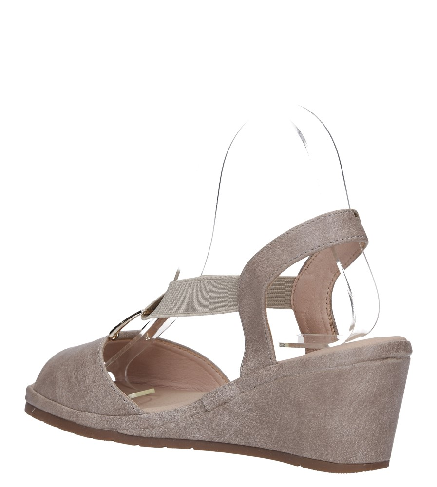 Beżowe sandały na koturnie z gumką metalowa ozdoba Casu W19X15/B wys_calkowita_buta 12 cm