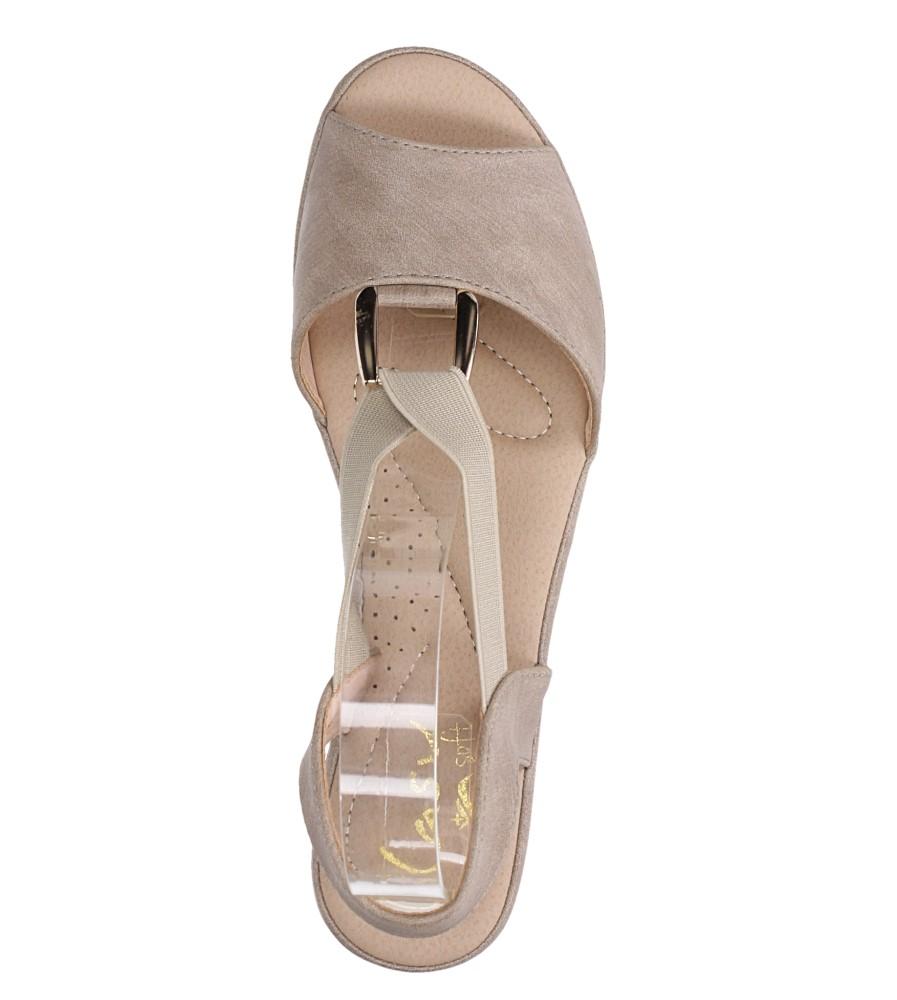 Beżowe sandały na koturnie z gumką metalowa ozdoba Casu W19X15/B wierzch skóra ekologiczna