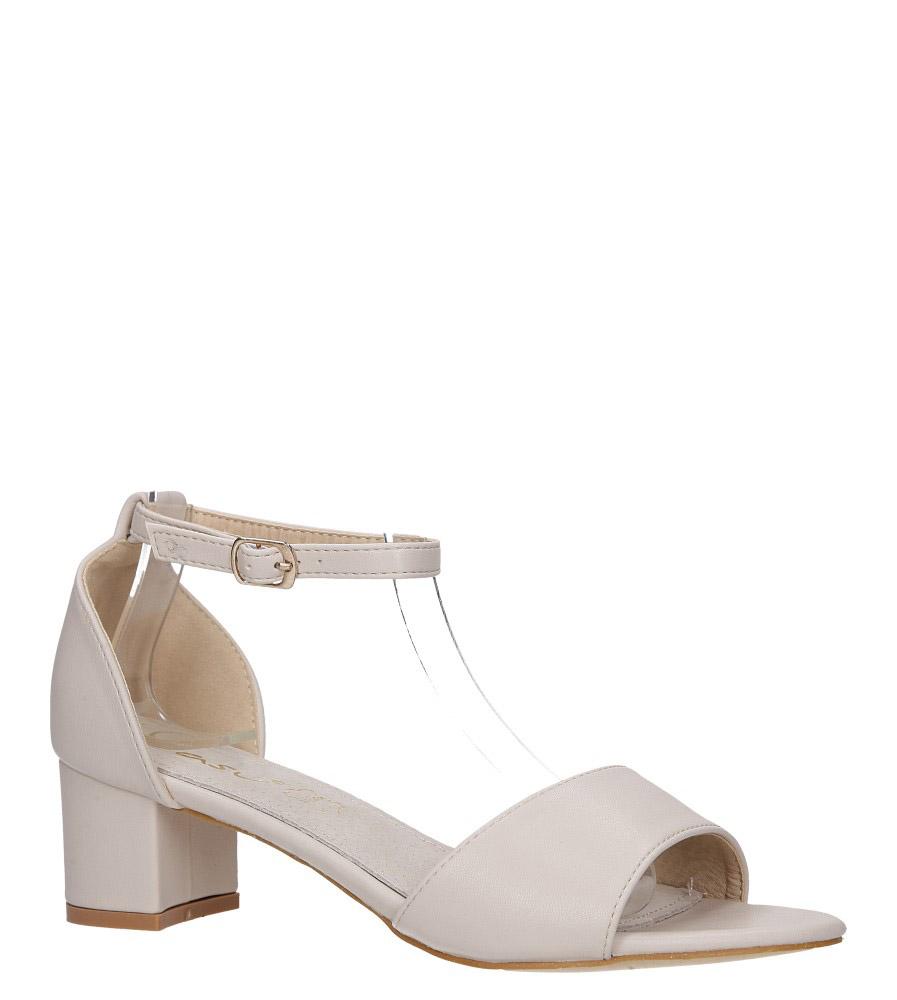 Beżowe sandały na obcasie niskim ze skórzaną wkładką z zakrytą piętą pasek wokół kostki Casu K19X1/BE