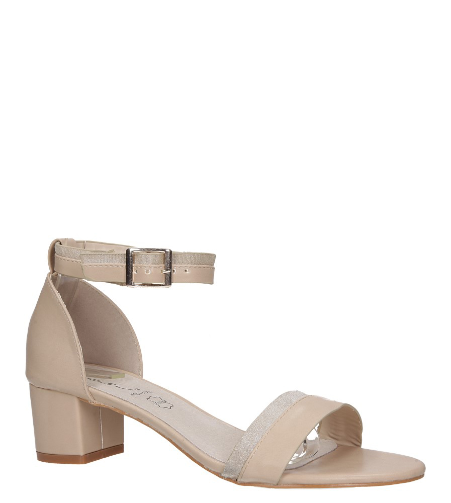 Beżowe sandały na obcasie niskim z zakrytą piętą pasek wokół kostki skórzana wkładka Casu R19X7/BE