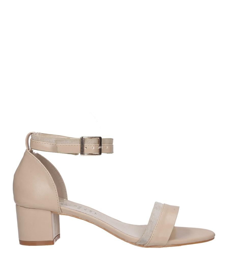 Beżowe sandały na niskim obsacie z zakrytą piętą pasek wokół kostki skórzana wkładka Casu R19X7/BE wysokosc_platformy 0.5 cm