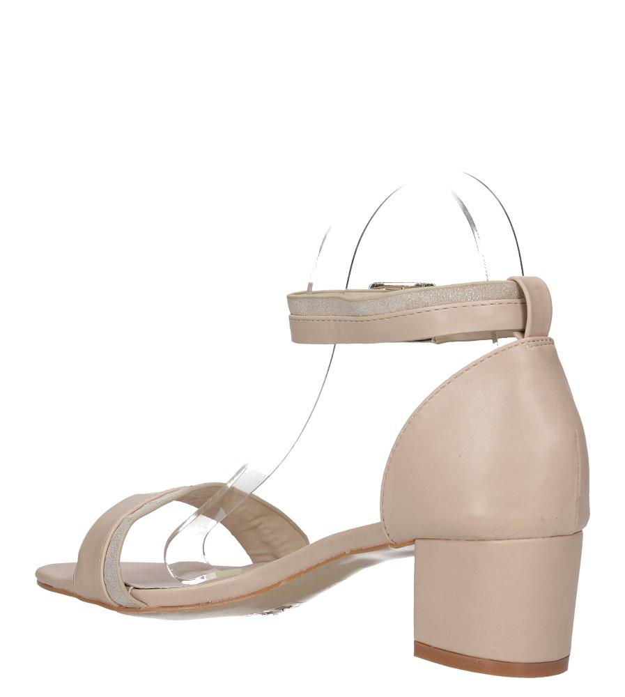 Beżowe sandały na niskim obsacie z zakrytą piętą pasek wokół kostki skórzana wkładka Casu R19X7/BE wys_calkowita_buta 14 cm