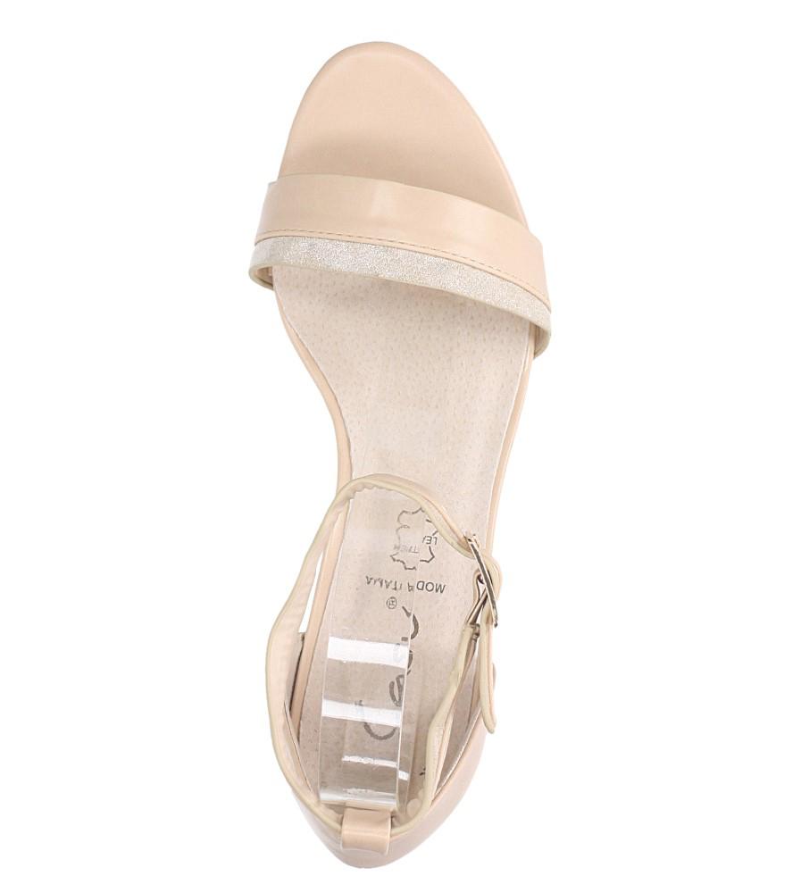 Beżowe sandały na niskim obsacie z zakrytą piętą pasek wokół kostki skórzana wkładka Casu R19X7/BE wierzch skóra ekologiczna