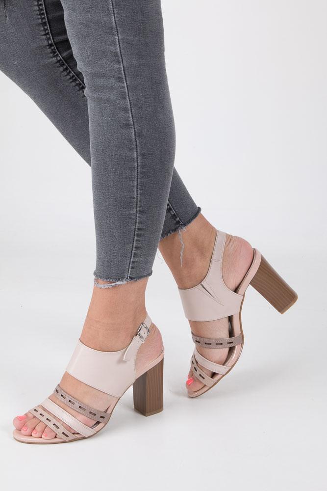 Beżowe sandały na obcasie Jezzi SA109-4