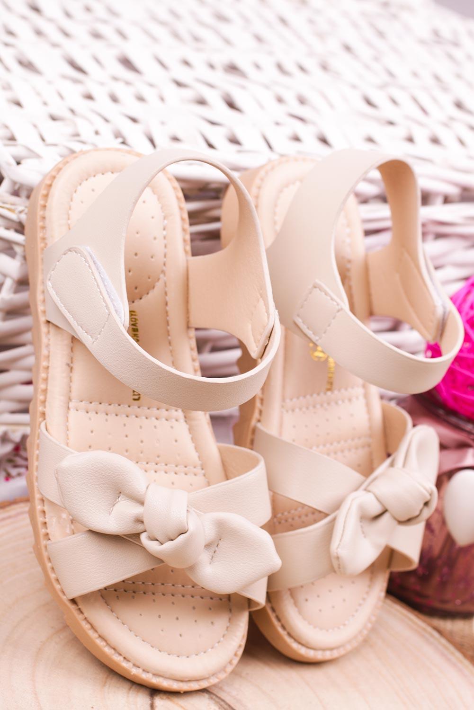 Beżowe sandały na rzep z kokardą Casu HY-17 beżowy