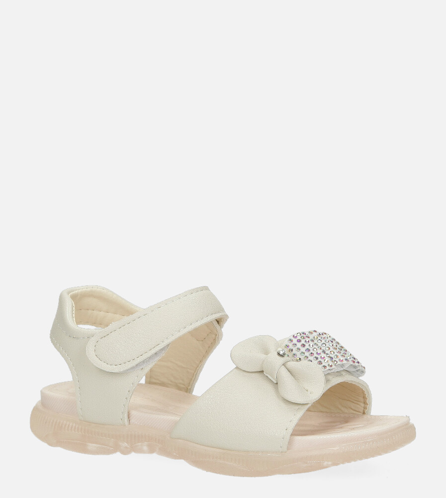 Beżowe sandały na rzep z kokardką i cyrkoniami Casu 20U6/M jasny beżowy