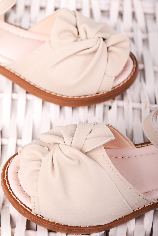 Beżowe sandały na rzep z zakrytą piętą kokarda Casu YJ223C