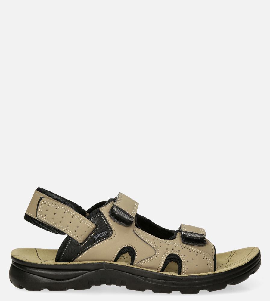 Beżowe sandały na rzepy Casu M90072 beżowy