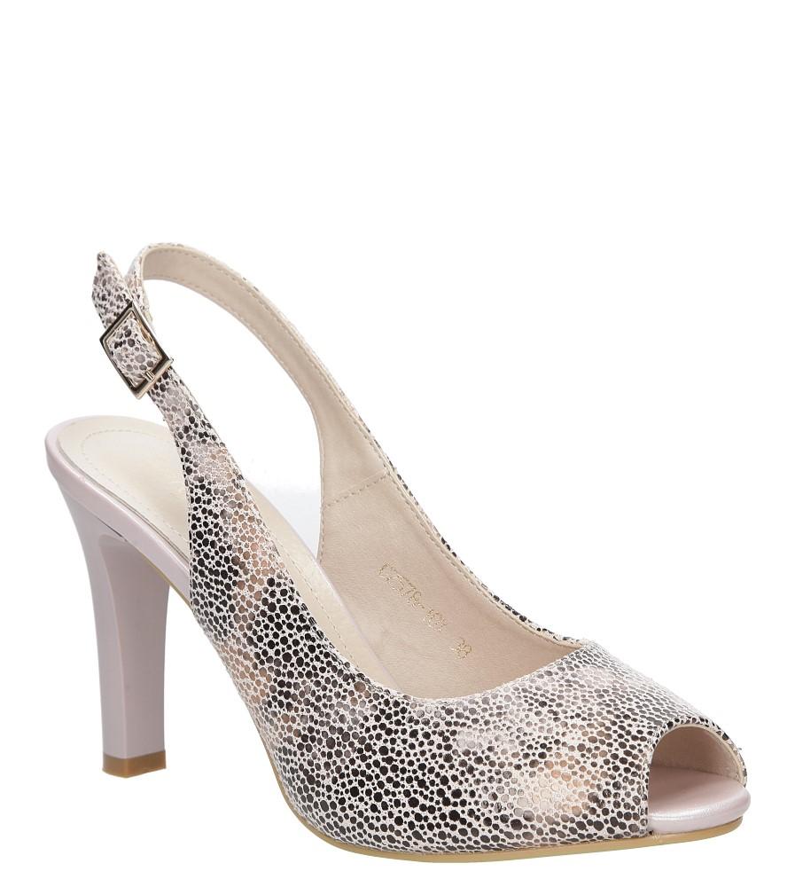 Beżowe sandały na słupku w kwiaty mozaika Sergio Leone CZ578-10X producent Sergio Leone
