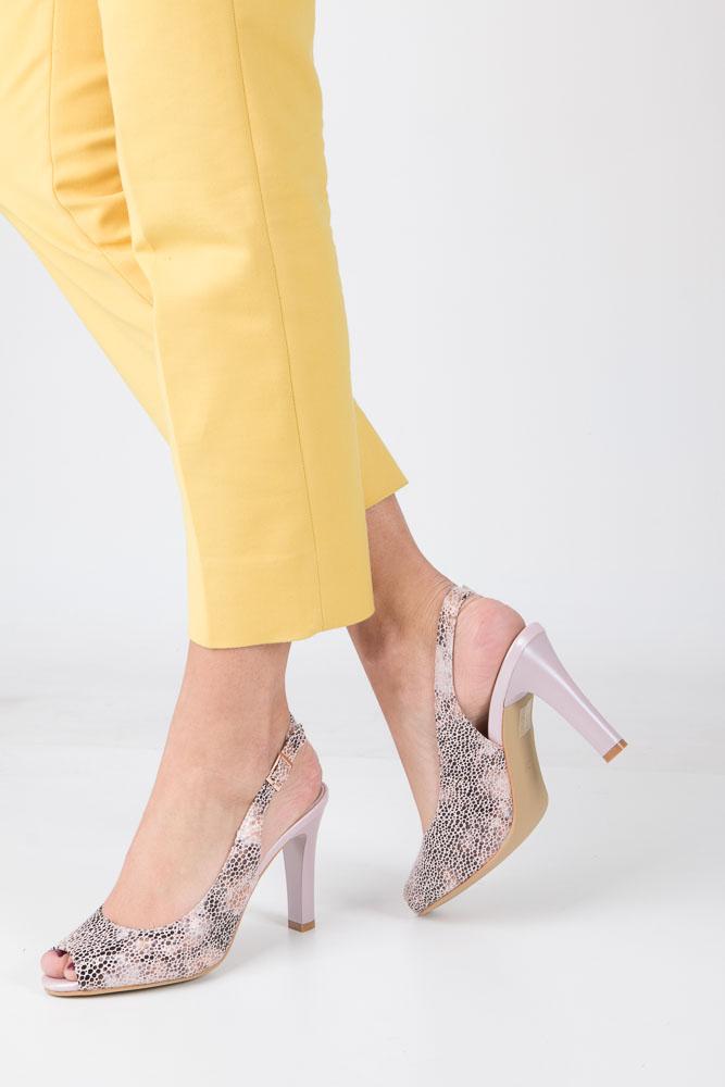 Beżowe sandały na słupku w kwiaty mozaika Sergio Leone CZ578-10X model CZ578-10X