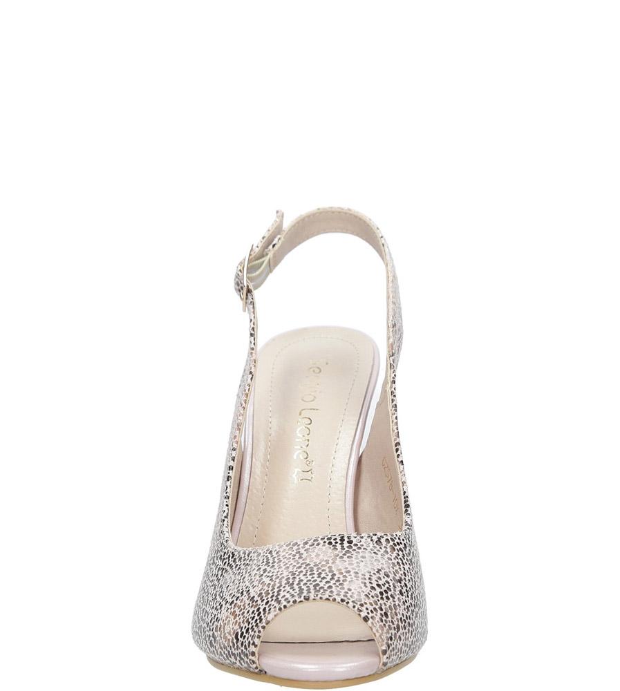 Beżowe sandały na słupku w kwiaty mozaika Sergio Leone CZ578-10X style Kwiatowy