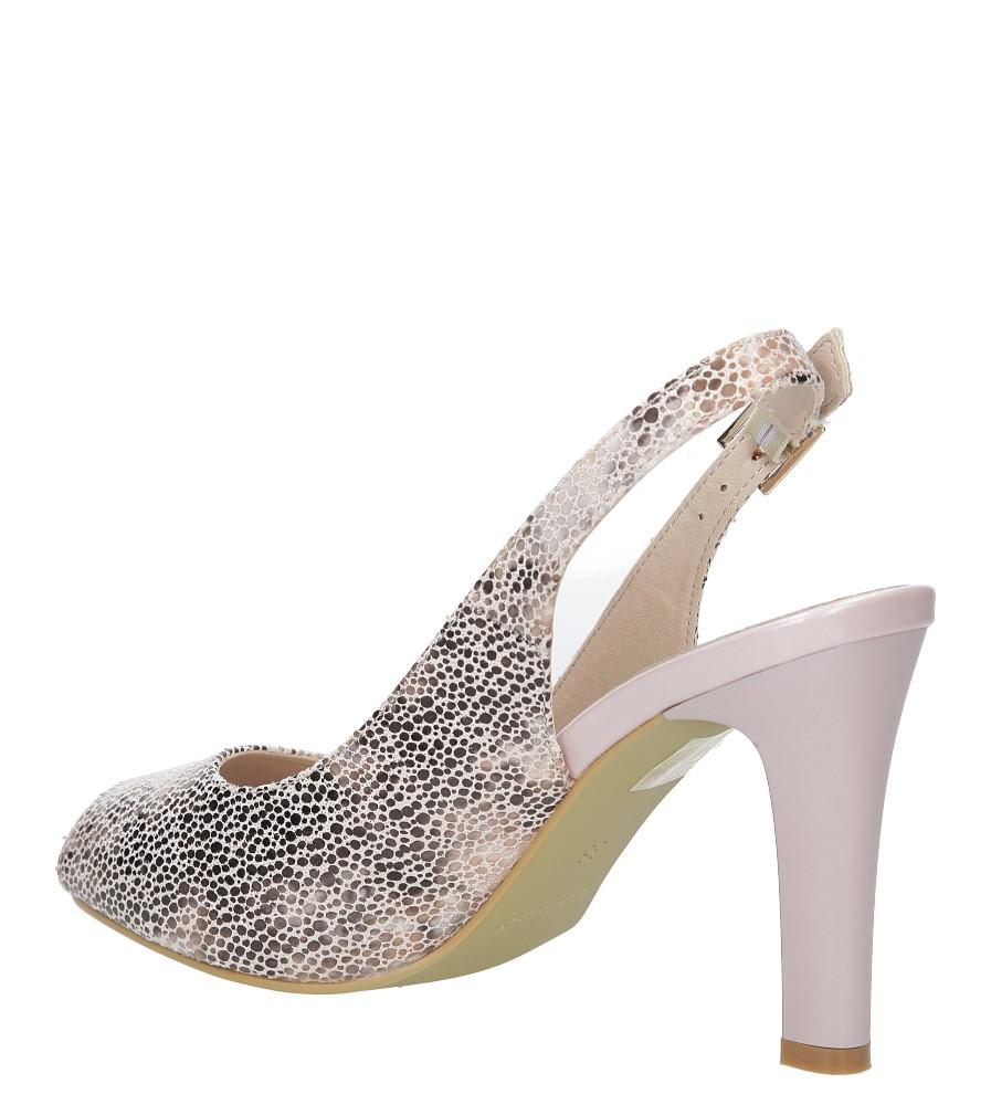 Beżowe sandały na słupku w kwiaty mozaika Sergio Leone CZ578-10X kolor beżowy