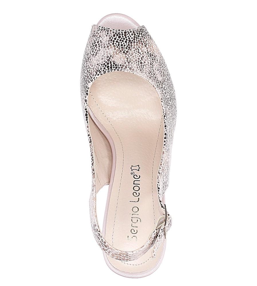 Beżowe sandały na słupku w kwiaty mozaika Sergio Leone CZ578-10X wysokosc_obcasa 10 cm