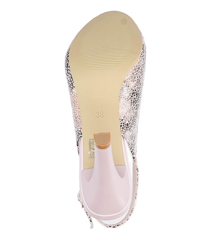Beżowe sandały na słupku w kwiaty mozaika Sergio Leone CZ578-10X wys_calkowita_buta 15 cm