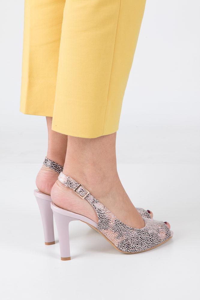 Beżowe sandały na słupku w kwiaty mozaika Sergio Leone CZ578-10X wierzch skóra ekologiczna