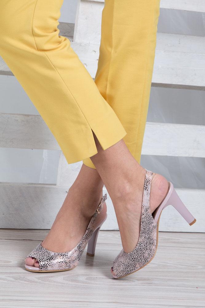 Beżowe sandały na słupku w kwiaty mozaika Sergio Leone CZ578-10X wnetrze skóra ekologiczna