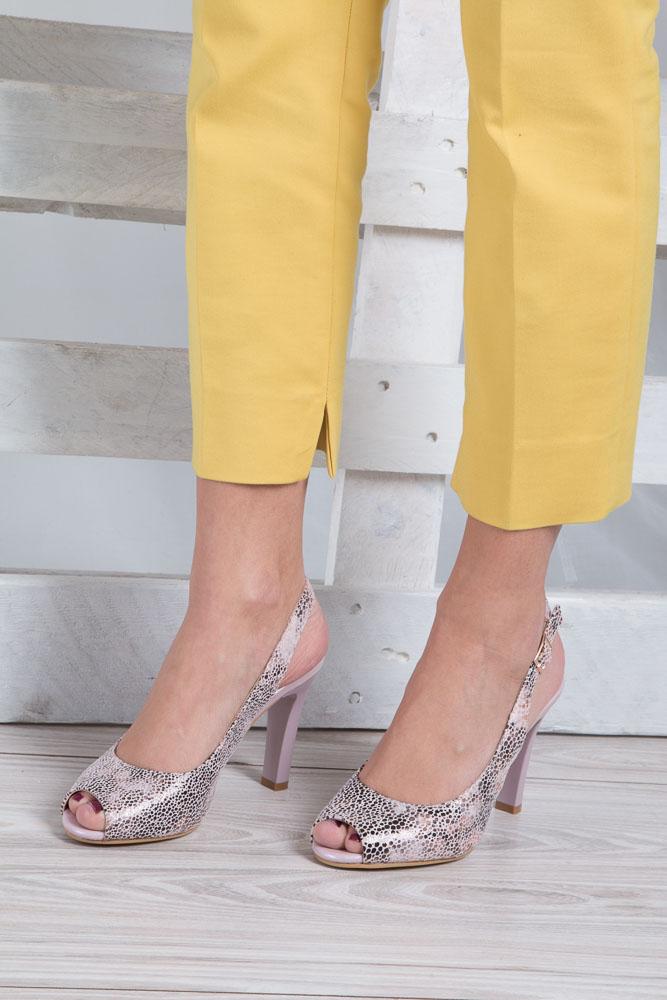 Beżowe sandały na słupku w kwiaty mozaika Sergio Leone CZ578-10X wkladka skóra