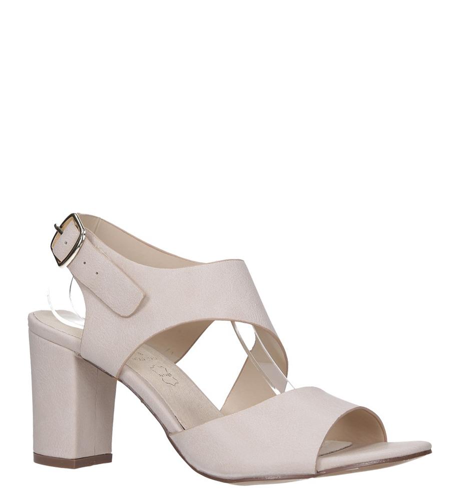Beżowe sandały na słupku z odkrytymi palcami skórzana wkładka Casu R19X6/BE model R19X6/BE