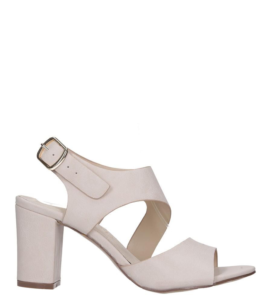 Beżowe sandały na słupku z odkrytymi palcami skórzana wkładka Casu R19X6/BE wysokosc_platformy 0.5 cm