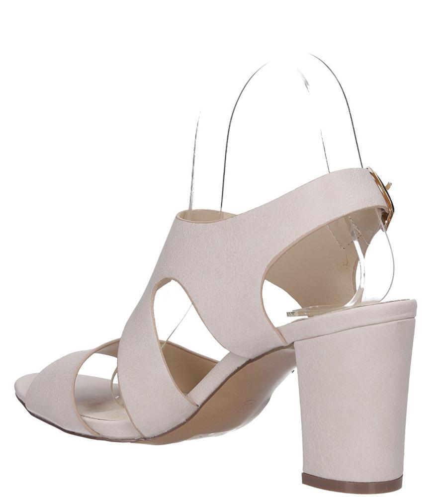 Beżowe sandały na słupku z odkrytymi palcami skórzana wkładka Casu R19X6/BE wys_calkowita_buta 16 cm