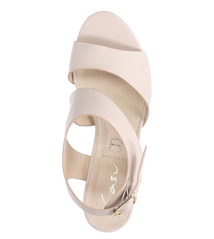 Beżowe sandały na słupku z odkrytymi palcami skórzana wkładka Casu R19X6/BE wierzch skóra ekologiczna