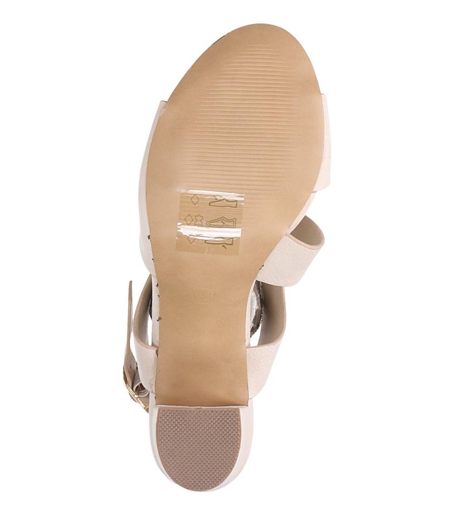 Beżowe sandały na słupku z odkrytymi palcami skórzana wkładka Casu R19X6/BE wnetrze skóra ekologiczna