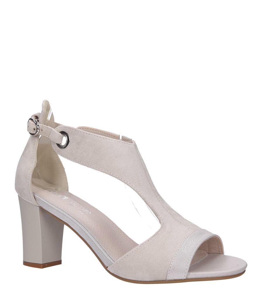Beżowe sandały na słupku z paskiem przez środek ze skórzaną wkładką Jezzi ASA150-8