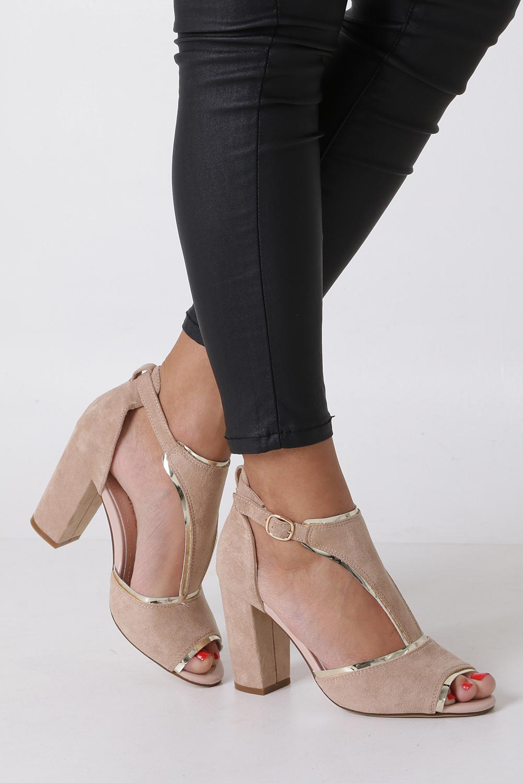 Beżowe sandały na słupku z zakrytą piętą Sergio Leone SK854 producent Sergio Leone