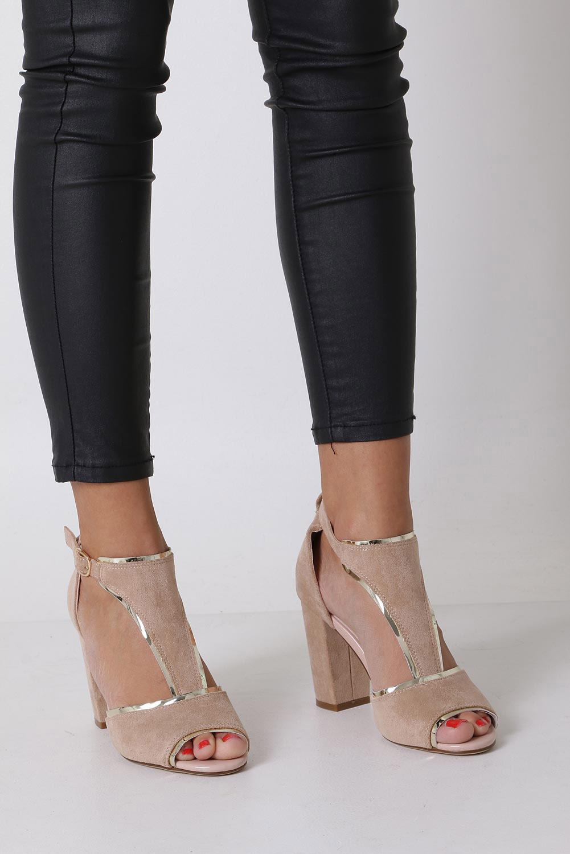 Beżowe sandały na słupku z zakrytą piętą Sergio Leone SK854 sezon Lato