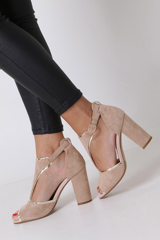 Beżowe sandały na słupku z zakrytą piętą Sergio Leone SK854 kolor beżowy