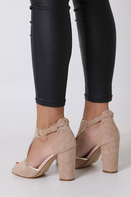 Beżowe sandały na słupku z zakrytą piętą Sergio Leone SK854 wysokosc_obcasa 9.5 cm