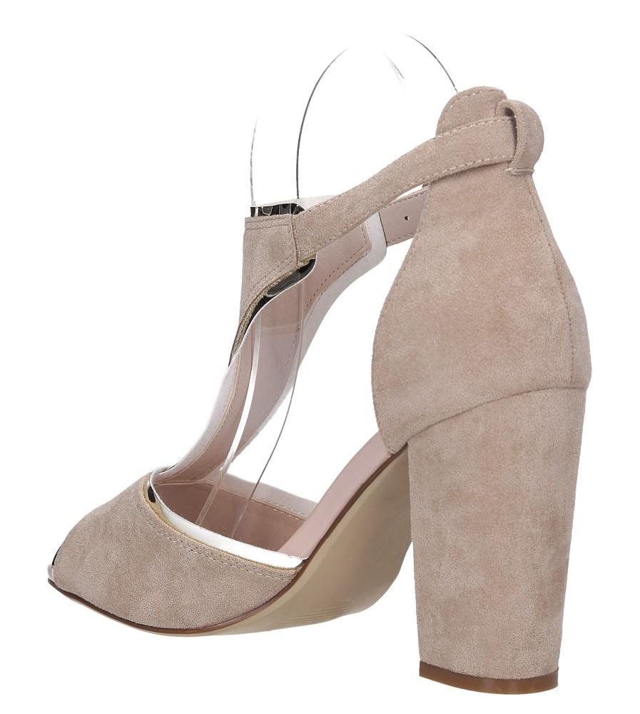 Beżowe sandały na słupku z zakrytą piętą Sergio Leone SK854 wys_calkowita_buta 19 cm