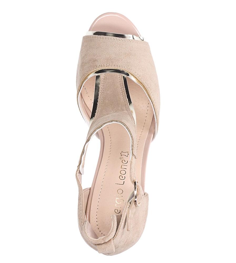 Beżowe sandały na słupku z zakrytą piętą Sergio Leone SK854 wierzch zamsz ekologiczny