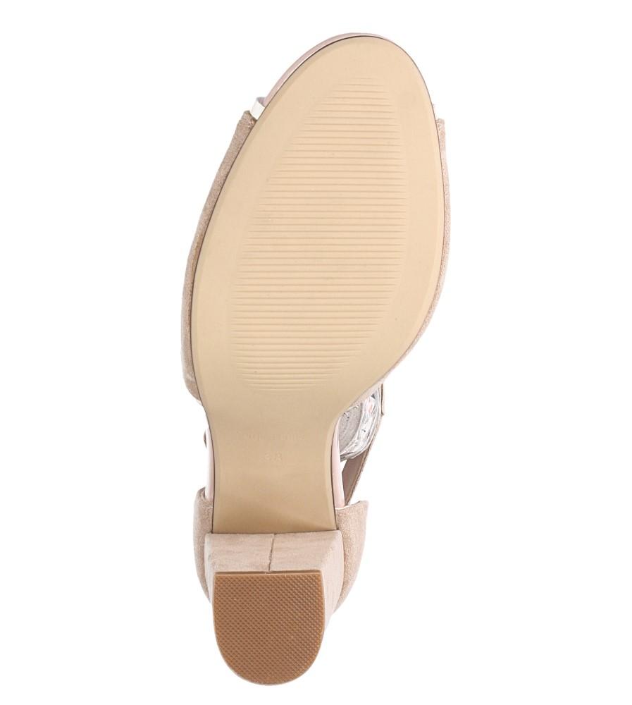 Beżowe sandały na słupku z zakrytą piętą Sergio Leone SK854 wnetrze skóra ekologiczna