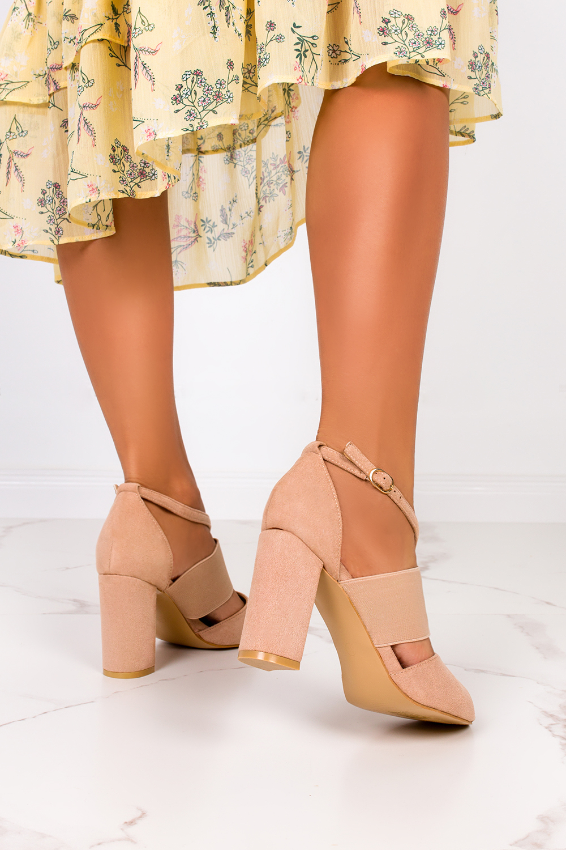 Beżowe sandały na słupku zabudowane z zakrytą piętą Casu ER21X6/BE sezon Lato