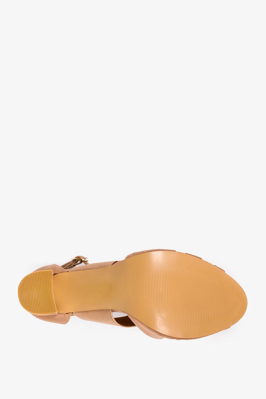 Beżowe sandały na słupku zabudowane z zakrytą piętą Casu ER21X6/BE wys_calkowita_buta 17.5 cm