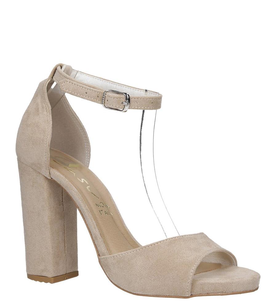 Beżowe sandały na szerokim słupku z zakrytą piętą i paskiem wokół kostki Casu 1590 beżowy