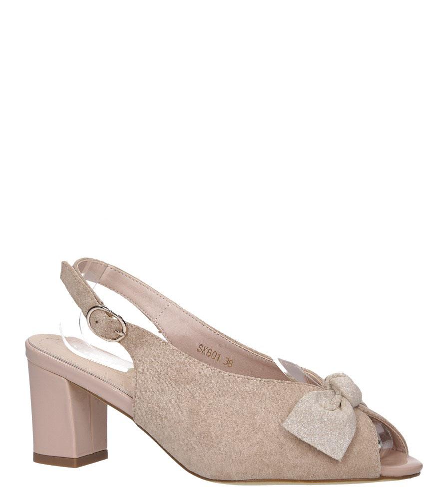 Beżowe sandały z kokardką na słupku peep toe Sergio Leone SK801