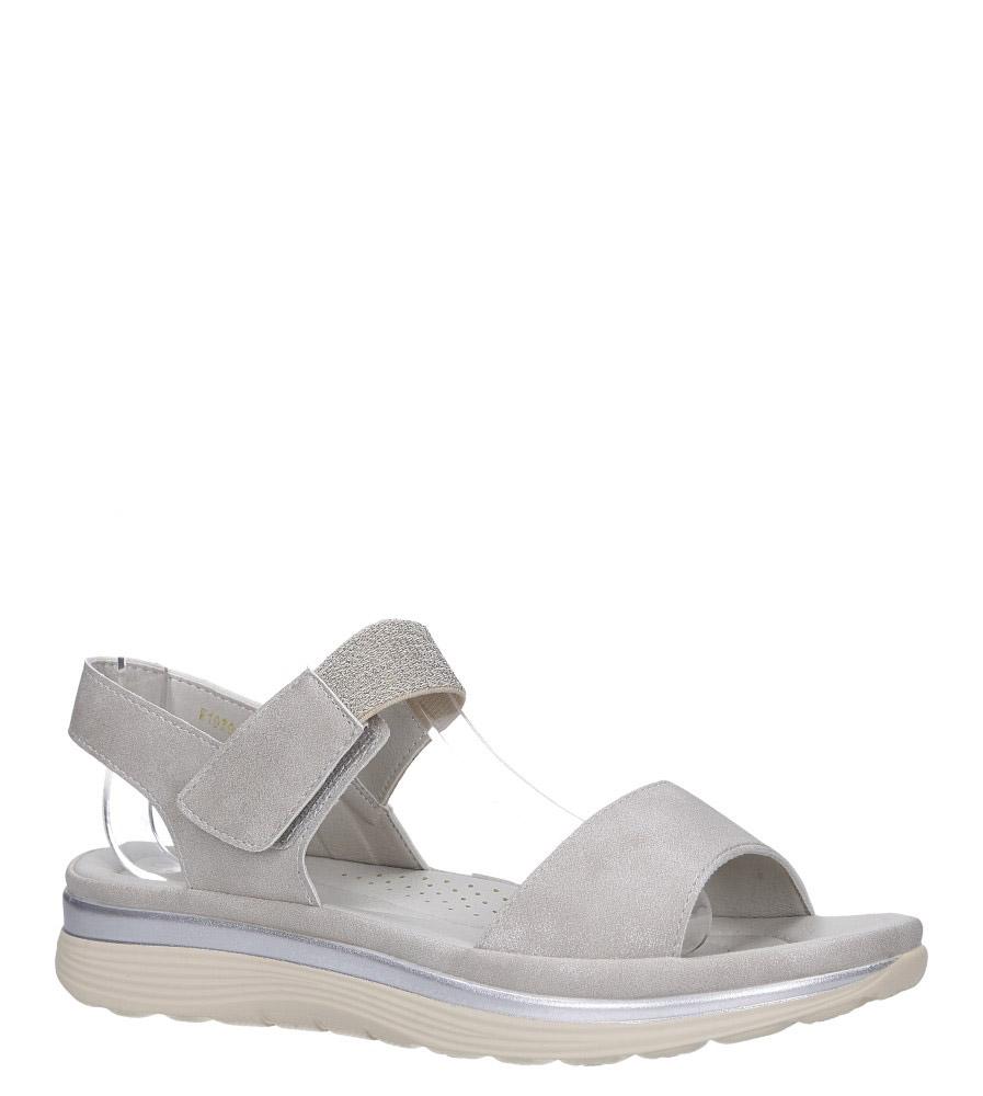 Beżowe sandały płaskie na rzepy z brokatową gumką Casu W19X9/B