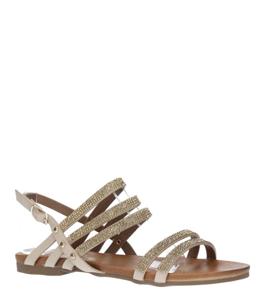 Beżowe sandały płaskie z mieniącymi się kryształkami Casu K18X8/BE producent Casu
