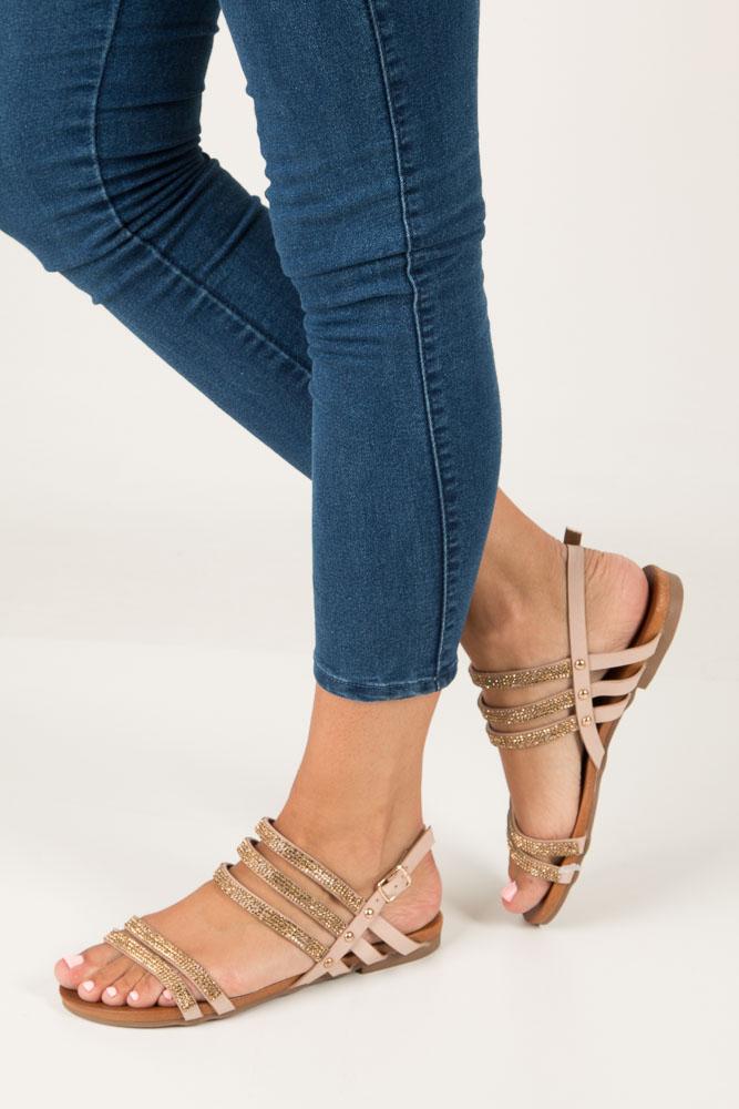 Beżowe sandały płaskie z mieniącymi się kryształkami Casu K18X8/BE model K18X8/BE