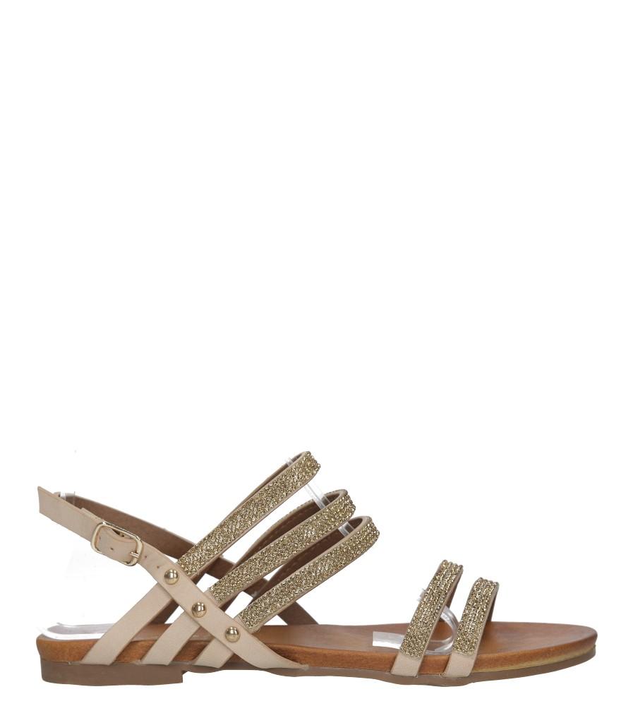 Beżowe sandały płaskie z mieniącymi się kryształkami Casu K18X8/BE sezon Lato