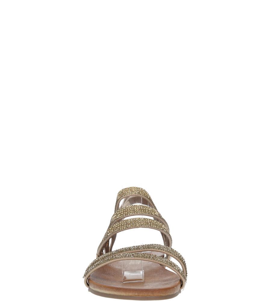 Beżowe sandały płaskie z mieniącymi się kryształkami Casu K18X8/BE kolor beżowy