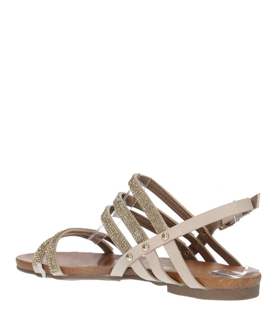 Beżowe sandały płaskie z mieniącymi się kryształkami Casu K18X8/BE wysokosc_obcasa 2 cm