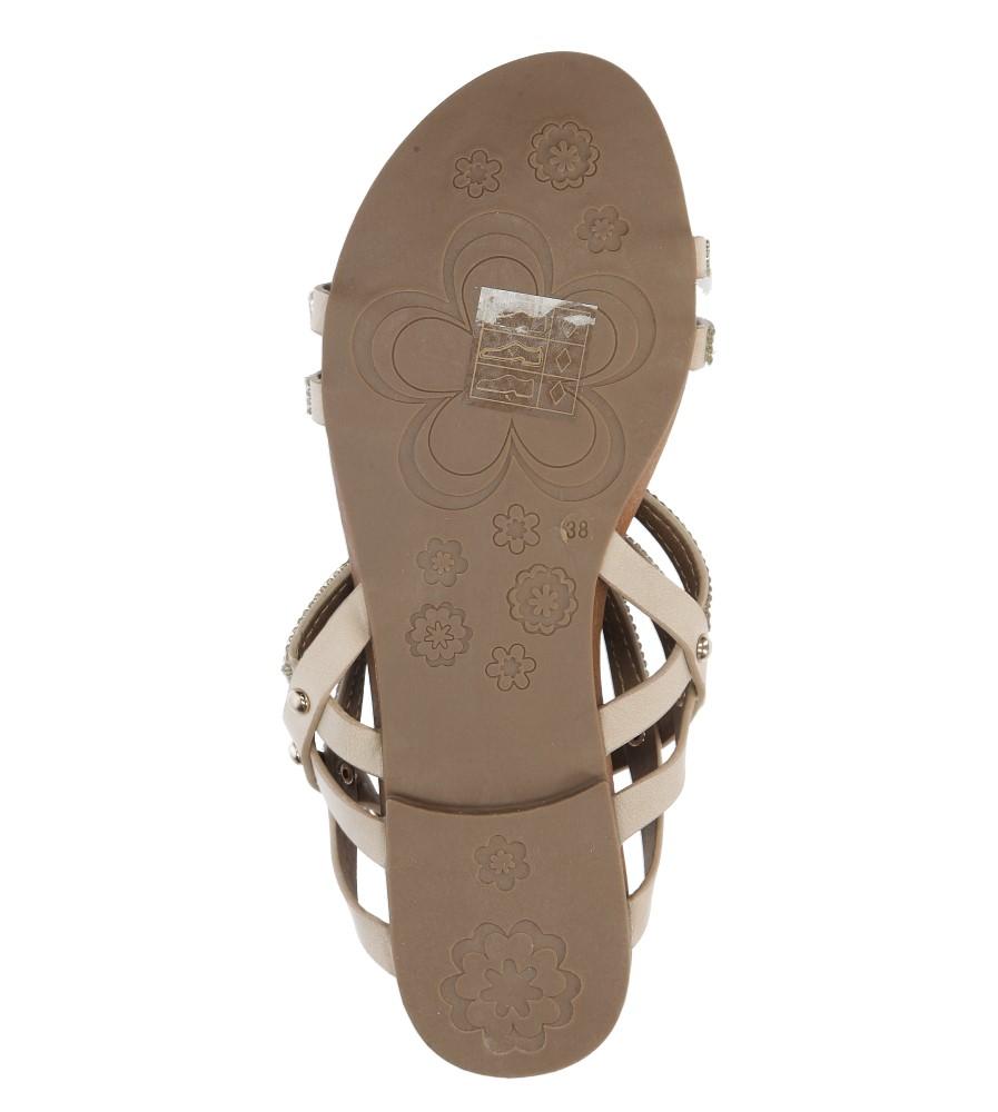 Beżowe sandały płaskie z mieniącymi się kryształkami Casu K18X8/BE wys_calkowita_buta 10 cm