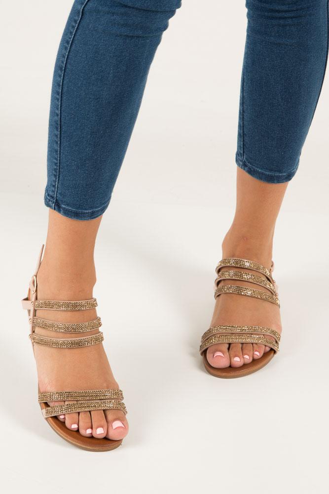 Beżowe sandały płaskie z mieniącymi się kryształkami Casu K18X8/BE wierzch skóra ekologiczna