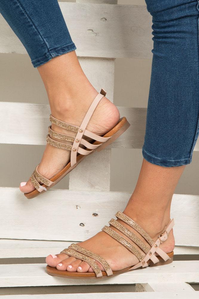 Beżowe sandały płaskie z mieniącymi się kryształkami Casu K18X8/BE wnetrze skóra ekologiczna