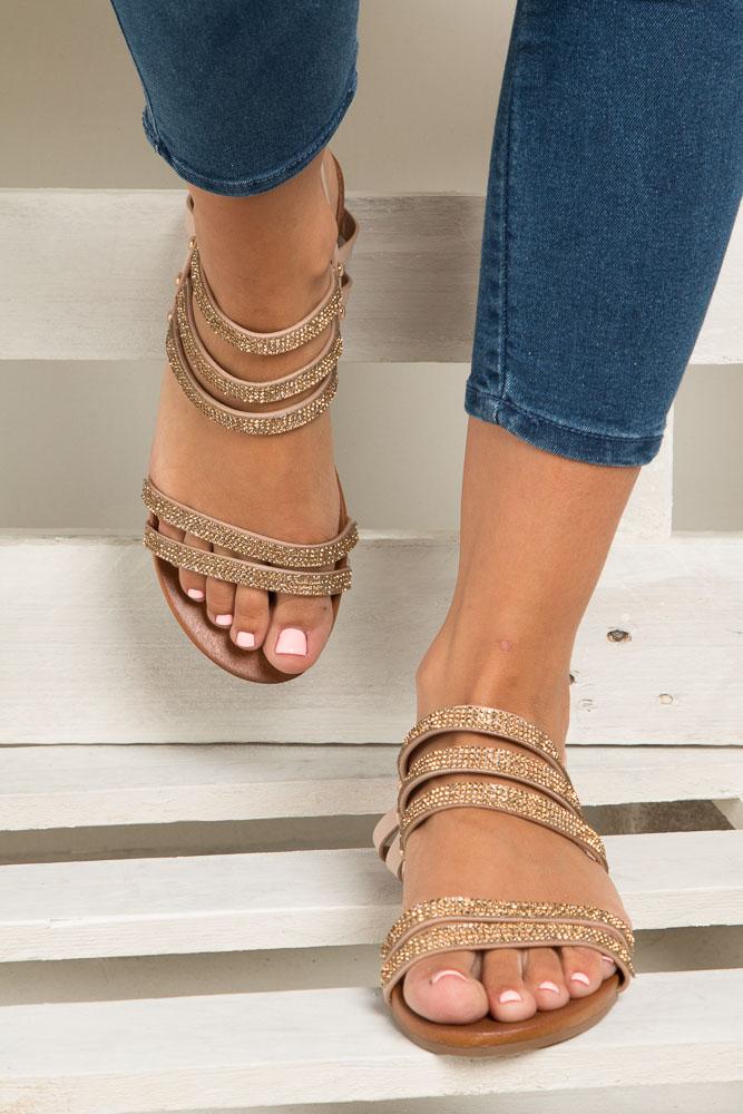 Beżowe sandały płaskie z mieniącymi się kryształkami Casu K18X8/BE wkladka skóra ekologiczna